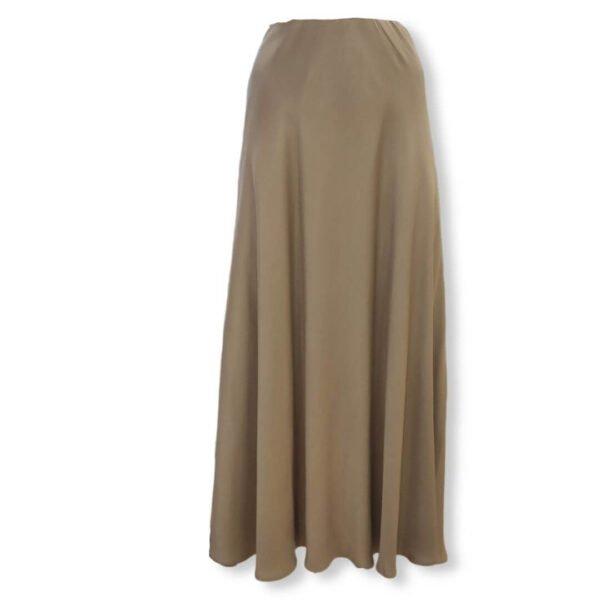Falda midi camel de viscosa Moutaki