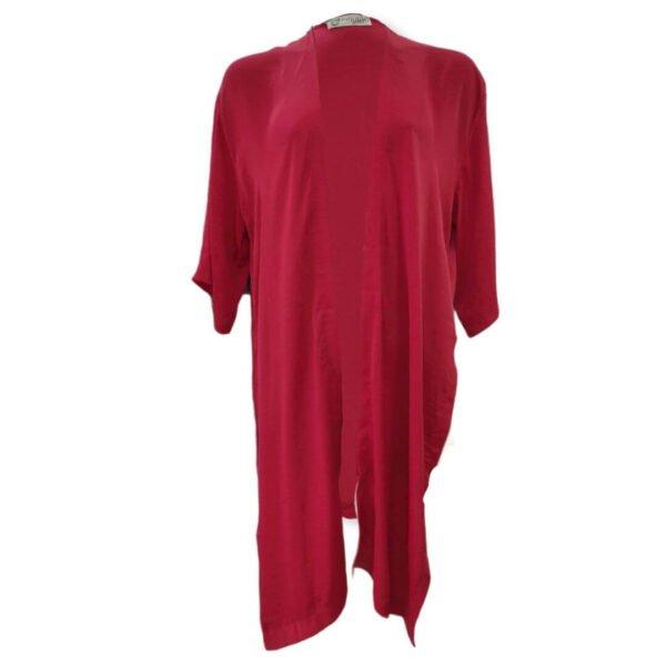 Chaqueta kimono raso Moutaki rojo