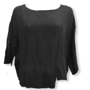 Blusa de gasa de algodón negro Moutaki