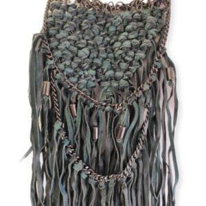 Collar extra grande de cuero y metal verde Nü Denmark