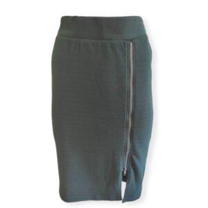 Falda elástica verde de largo midi Riola
